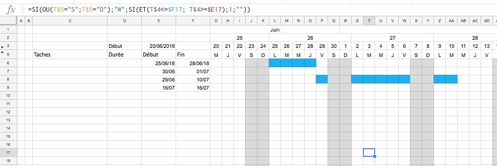 Création d'un planning Excel