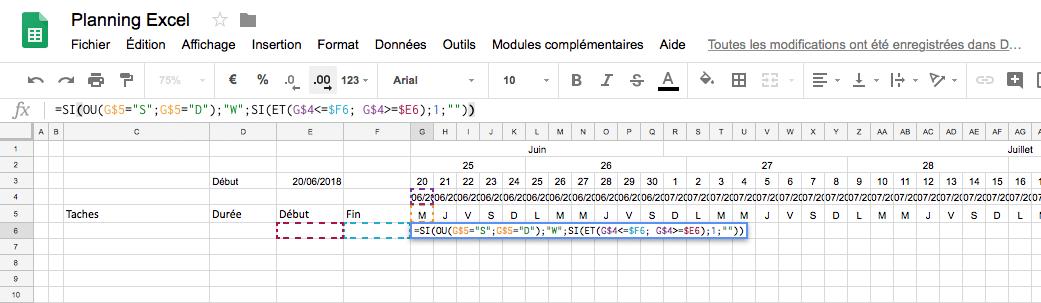 Création d'un planning Excel : Formule pour le diagramme de Gantt