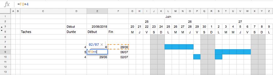 Création d'un planning Excel : Lien fin à début