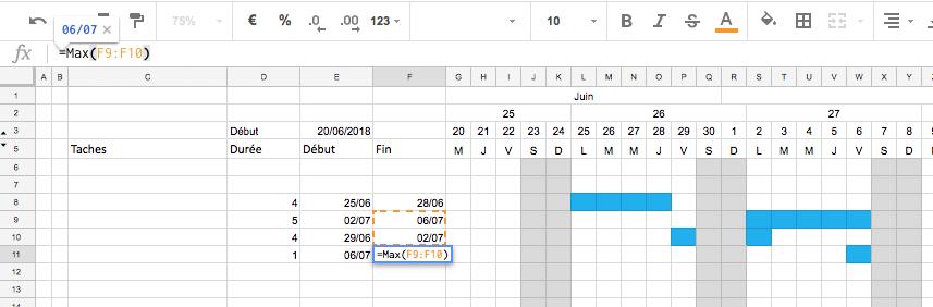 Création d'un planning Excel : Lien Fin Fin avec plusieurs antécédents