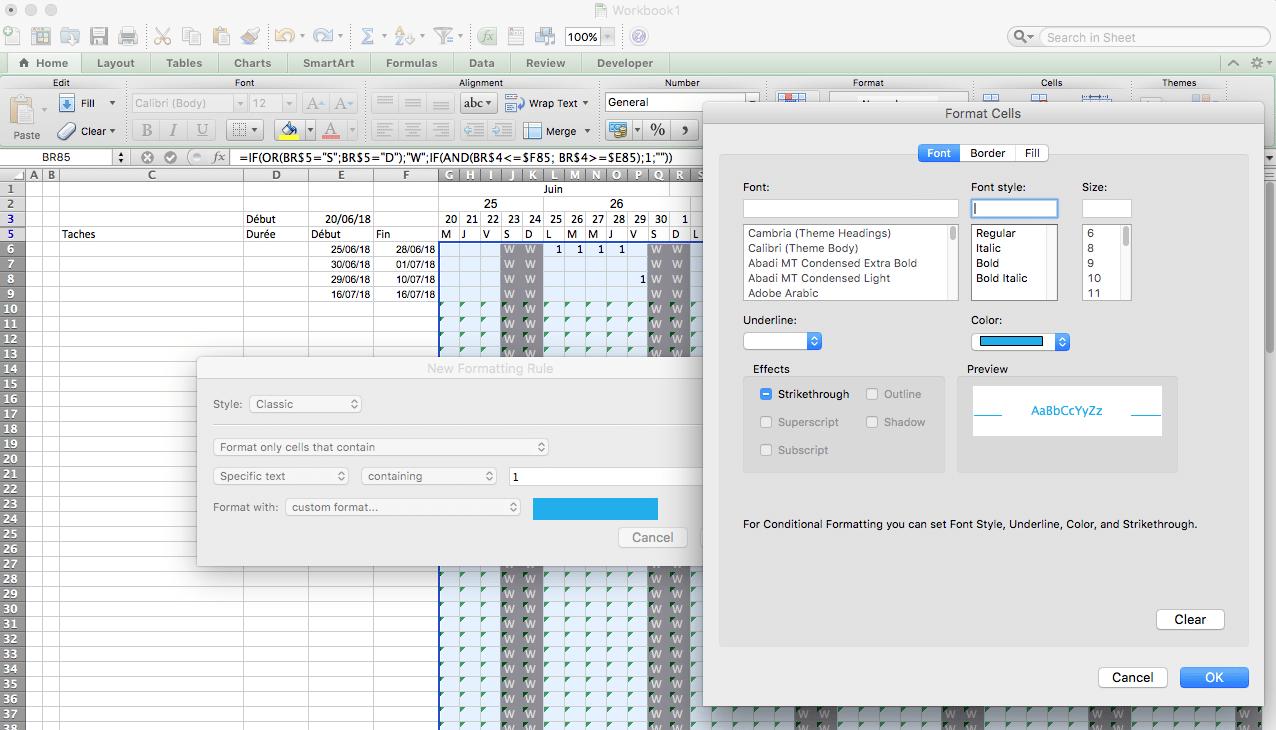 seconde règle de mise en forme avec Excel