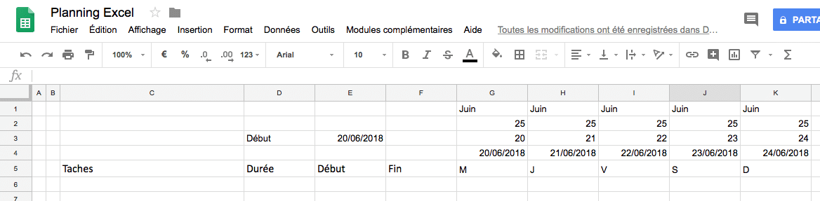 Création d'un planning Excel : affichage de la date