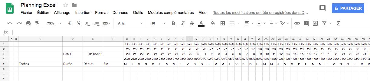 Création d'un planning Excel : mise en forme du calendrier