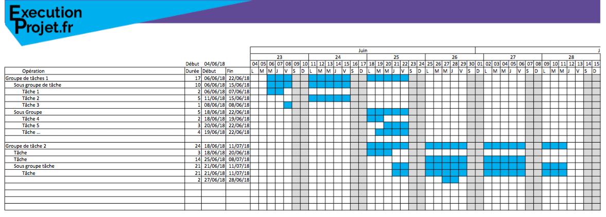 Modèle de planning Excel